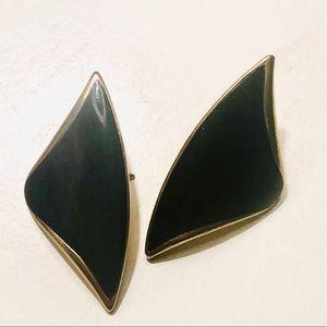 EUC VINTAGE TRIFARI Black & Gold Stud Earrings